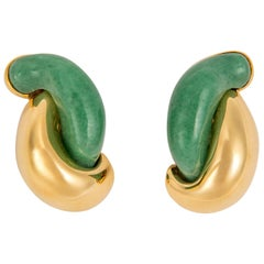 Seaman Schepps Adventurine Half Link Gold Earrings