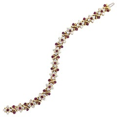 Oscar Heyman Diamond Ruby 18 Karat Yellow Gold Link Bracelet