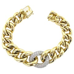 Diamond 18 Karat Two-Tone Gold Link Bracelet Signed Cetas