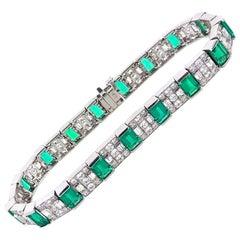 6.0 Carat Diamond Emerald Platinum Link Bracelet