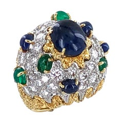 1960s French Diamond Cabochon Sapphire Emerald Cocktail Dome Ring