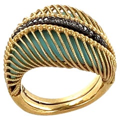 Italian Modern Diamond Turquoise 18 Karat Yellow Gold Ring Signed Pomi