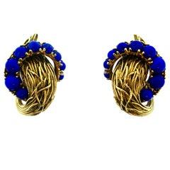 Pomellato Textured Yellow Gold Lapis Earrings