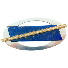 Cartier Yellow and White Gold Diamond and Lapis Brooch