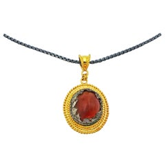 Ancient Roman Carnelian and Silver Artifact 22k Gold Pendant Necklace
