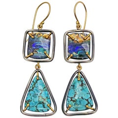Australian Boulder Opal and Turquoise Two-Tone Dangle Earrings