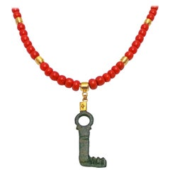 Authentic Ancient Roman Bronze Key and Gold Pendant on Coral Bead Necklace