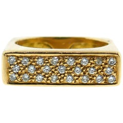 French Modernist Square Shape Yellow Gold Diamond Ring
