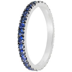 Blue Sapphire Eternity Ring Set in 18 Karat White Gold Handmade in Italy