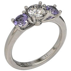 Kian Design Three Stones White Gold GIA Round Diamond and Two Sapphires Ring