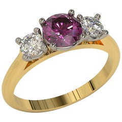 Kian Design Three Stones Pink Sapphire and Diamond Two-Tone Gold Engagement Ring