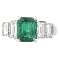 Certified Emerald and Diamond Ring 1.66 Carat