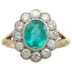 Vintage 1.51 Carat Emerald Diamond Yellow Gold Cocktail Ring Circa 1960