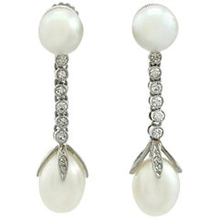 Antique Natural Pearl and Diamond Platinum Drop Earrings Circa 1910