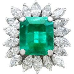 Vintage 4.30 Carat Emerald Diamonds White Gold Cluster Ring Circa 1990