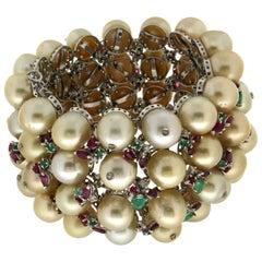 Pearl 18 Karat White Gold Emerald Ruby and Diamonds Cuff Bracelet
