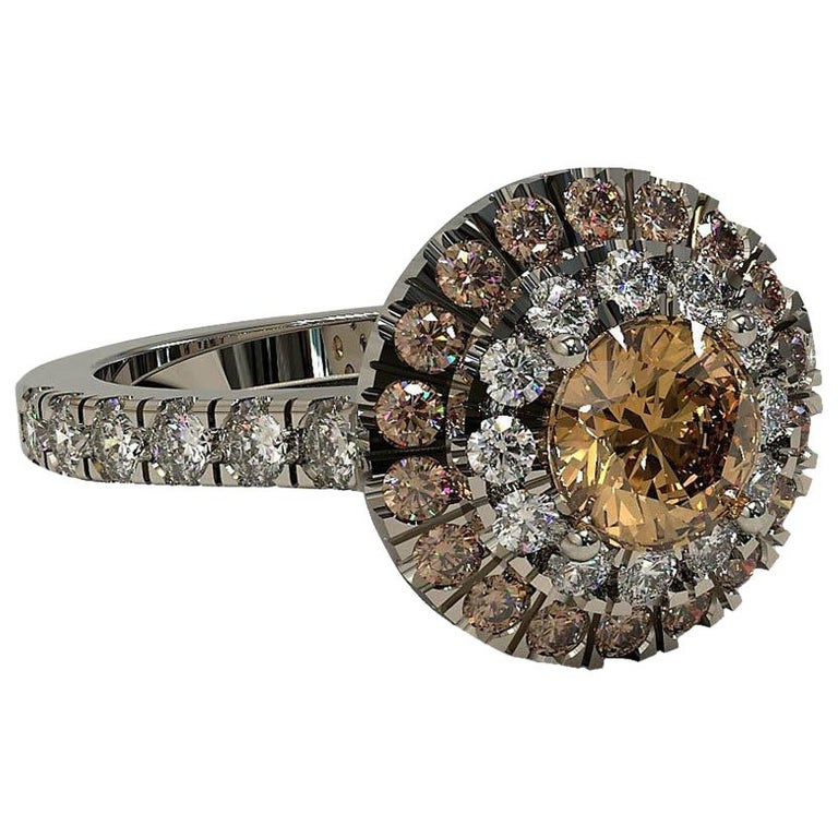 Kian Design Champagne, Cognac and white Diamond Halo Engagement Ring For Sale