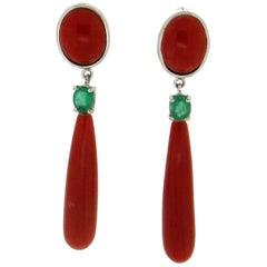 Sardinia Coral 18 Karat White Gold Emerald Drop Earrings