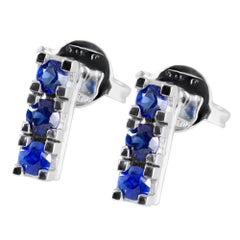 Trilogy Blue Sapphire Earrings Handmade in Italy