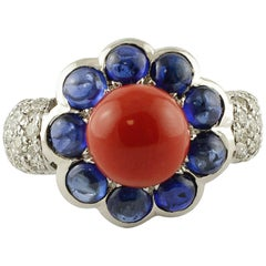 Diamonds Blue Sapphires Red Coral White Gold Flower Shape Fashion Ring