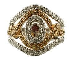 1.49 Carat White and Brown Fancy Diamonds 18 Karat White and Rose Gold Band Ring