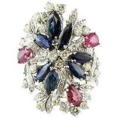 5.56 Carat Rubies Blue Sapphires 1.87 Carat Diamonds White Gold Fashion Ring