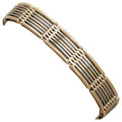 Antique White Gold and Rose Gold Gate Link Bracelet