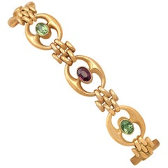 Edwardian Peridot and Amethyst Yellow Gold Bracelet