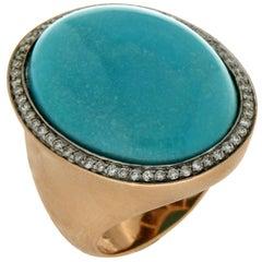 Turquoise 18 Karat Yellow Gold Diamonds Cocktail Ring