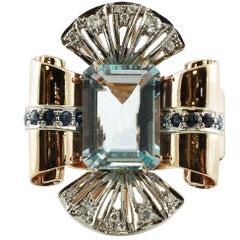 6.70 Carat Aquamarine, White Diamonds, Blue Sapphires White and Rose Gold Ring