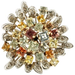 3.56 Carat Multi-Color Sapphires, White Diamonds White Gold Cluster Retrò Ring