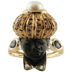 Diamonds, Rubies, Blue Sapphires, Pearl, Ebony Rose Gold and Silver Moretto Ring