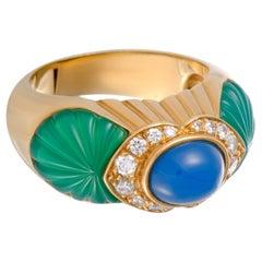 Cartier Diamond Green and Blue Jade Ring