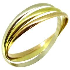 Cartier Trinity Three-Color Yellow White Gold Bangle Bracelet