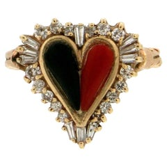 Heart Coral and Onyx, 18 Karat Yellow Gold, Diamonds, Cocktail Ring