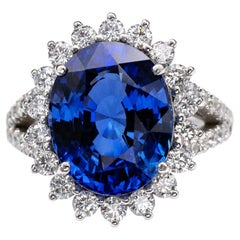 SSEF Certified 8.80 Carat Natural Ceylon Sapphire Diamond Ring