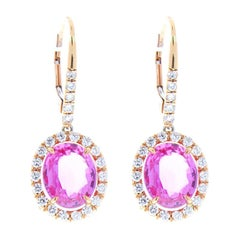 6.04 Carat Oval Pink Sapphire and Diamond Earrings in 18 Karat Rose Gold
