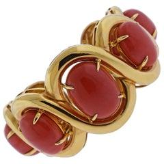 Seaman Schepps Coral Gold Cuff Bracelet