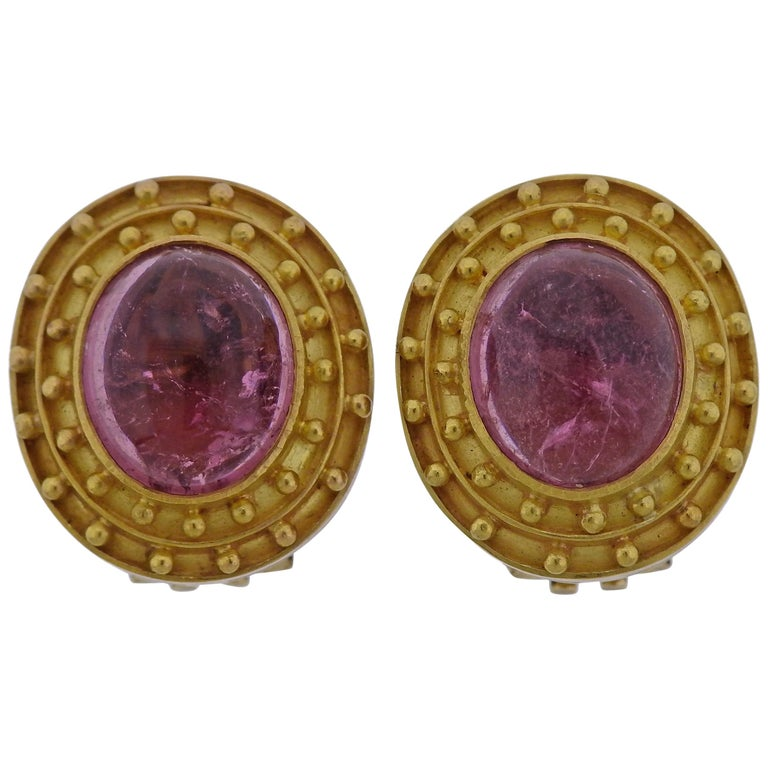 Elizabeth Locke Pink Tourmaline Cabochon Gold Earrings For Sale