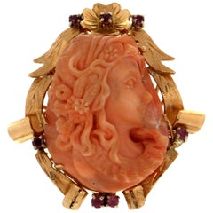 Coral Cameo, 18 Karat Yellow Gold, Ruby, Cocktail Ring