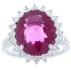 6.28 Carat Rubellite and Diamond Cocktail Ring in 18 Karat White Gold