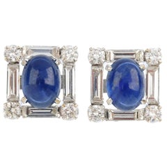 Blue Sapphire and Diamonds in White Gold Square Stud Earrings