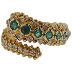 Lalaounis Greece Emerald Diamond Gold Ring