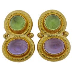 Elizabeth Locke Amethyst Peridot Gold Earrings