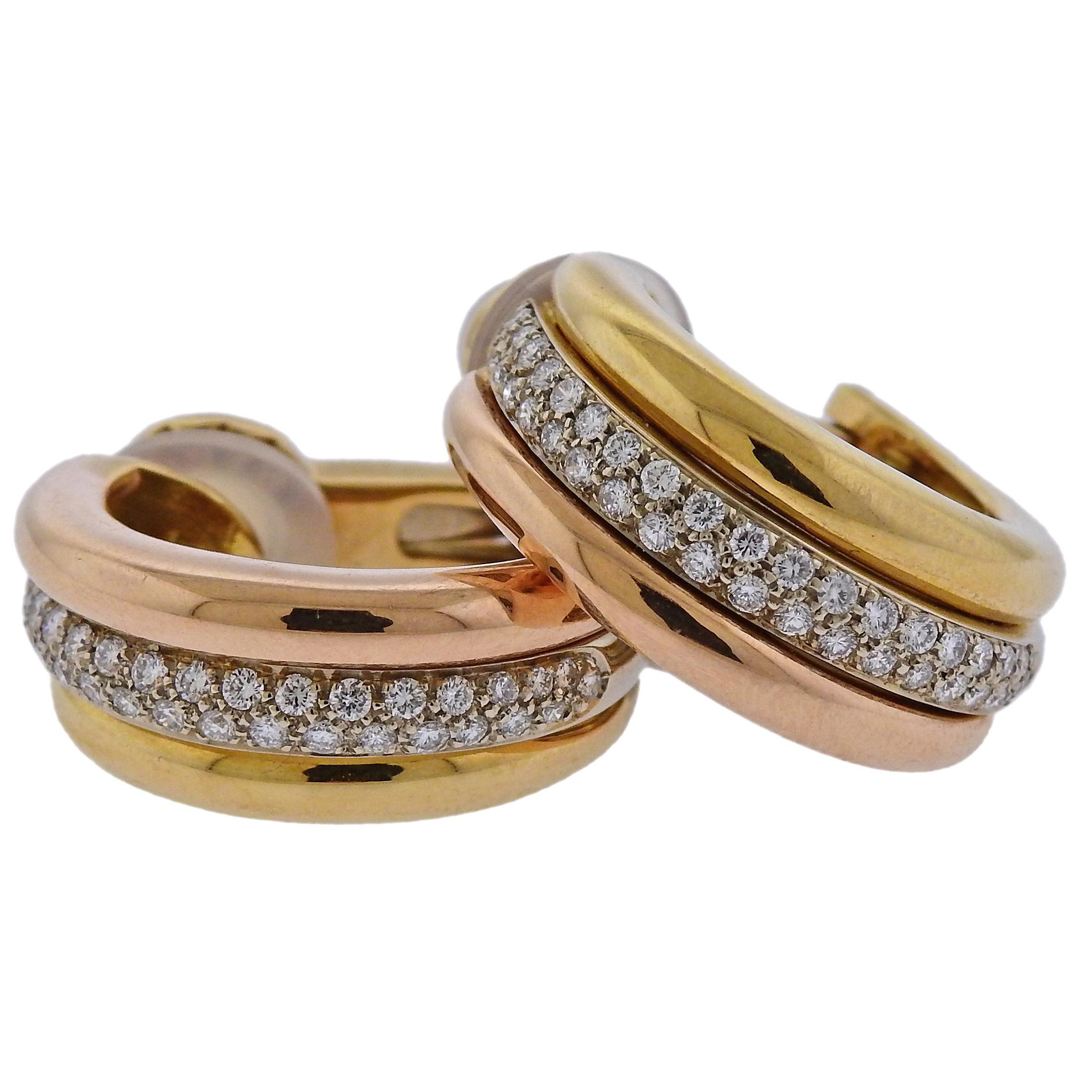 Cartier Diamond Gold Hoop Earrings