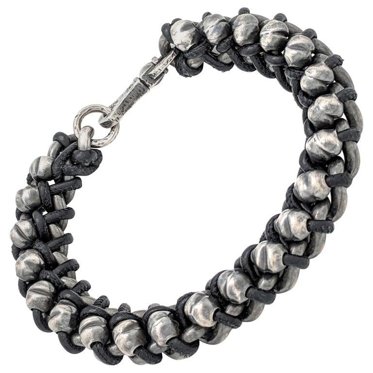 e68c4fc7dd7f2 Authentic Bottega Veneta Men s Black Oxidized-Silver and Woven Leather  Bracelet For Sale