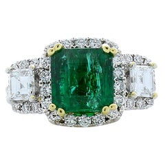 PGS Certified 2.38 Carat Emerald Cut Emerald and Diamond Cocktail Gold Ring