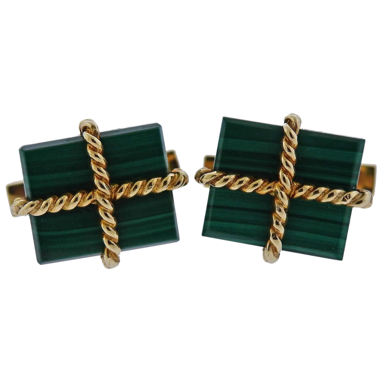 Tiffany & Co. Malachite Gold Cufflinks