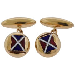 Tiffany & Co. Enamel Gold Cufflinks