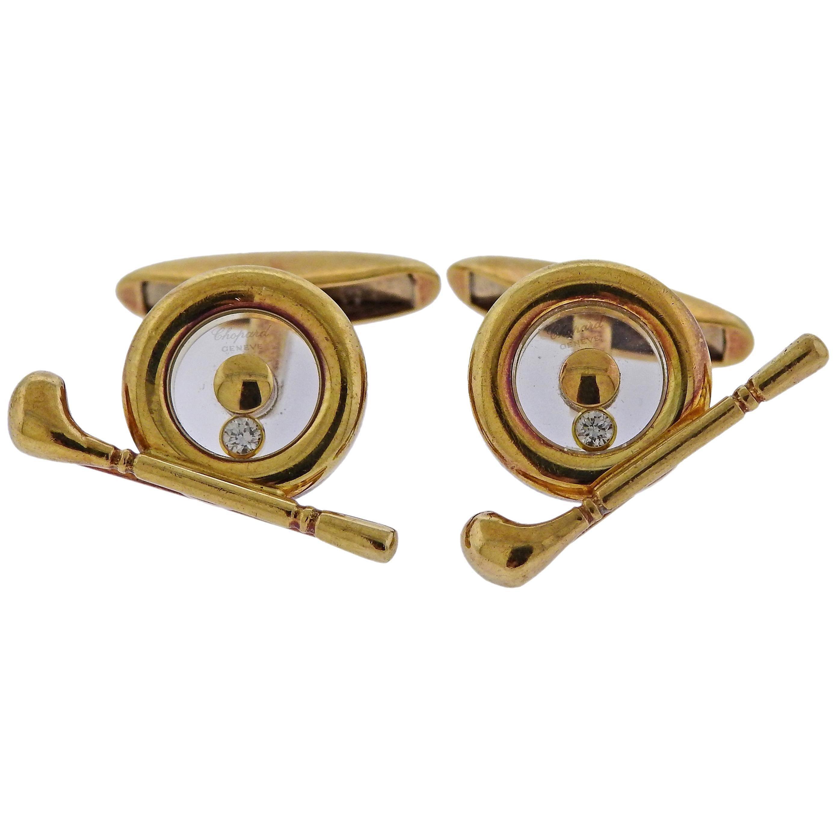 Chopard Happy Diamonds Gold Golf Spinner Cufflinks